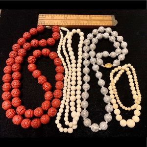 4 beaded necklaces painted carved cinnabar bone